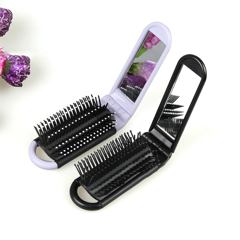 Mayitr 3colors Professional Travel Hair Comb Portable Folding Brush With Mirror Compact Pocket Size Purse