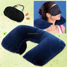 Travel Kit Inflatable U Berbentuk Bantal Leher + Masker Mata + Telinga Abu-abu dan Biru Burung Unta Bantal Bantal(China)