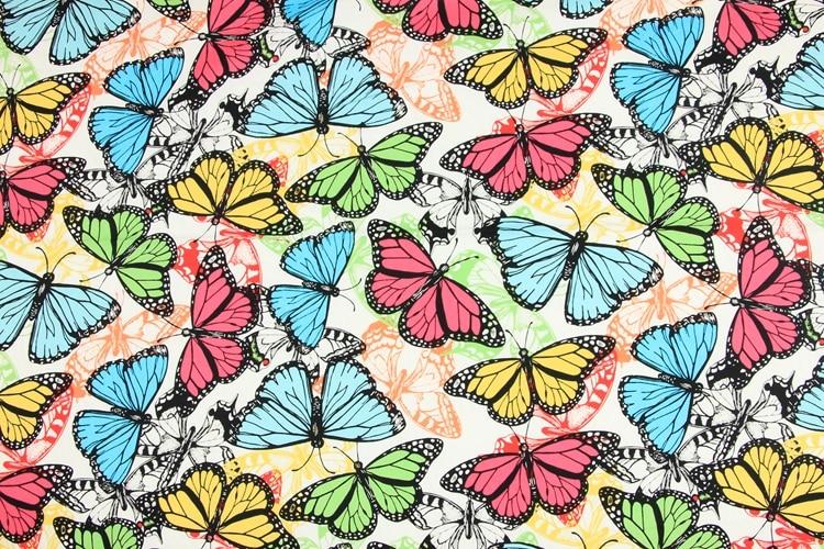 half meter 100 cotton poplin fabric with butterfly print handmade DIY garment dress children cloth T597 in Fabric from Home Garden