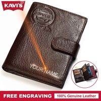 KAVIS Free Engrave Genuine Leather Wallet Men Passport Cover Coin Purse Travel Walet PORTFOLIO Portomonee Vallet