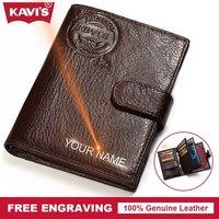 KAVIS Free Engrave Genuine Leather Wallet Men Passport Cover Coin Purse Travel Walet PORTFOLIO Portomonee Vallet
