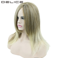 DELICE Long Straight Yellow to Blonde Ombre Hair Cosplay Wigs Women Party Synthetic Wig Hair Accessories Hairpieces 22inch