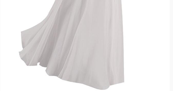[Распродажа] шифоновое вечернее платье Длинное Элегантное длинное вечернее платье с блестками и бисером на шнуровке сзади милое - Цвет: White