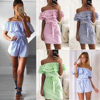 Women Ladies Clothing Dress Elegant Casual Off Shoulder Party Ruffles Short Sleeve Brief Mini Dress Women