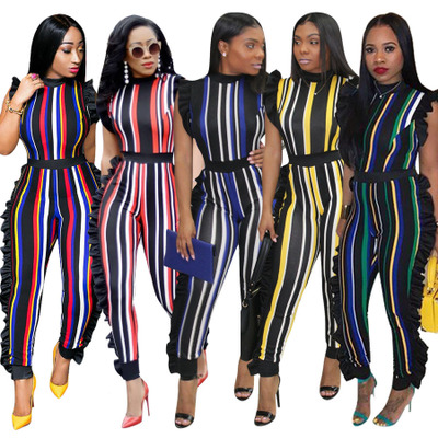 Women Striped Multi-color Sleeveless Jumpsuits and Rompers Women Ruffle Bodycon Club Party Bodysuits Plus Size Playsuits