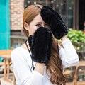 Guantes 2016 nueva mujer marca de lujo de piel de conejo Rex real de piel guantes de la manera Guantes de Rusia las mujeres guantes de invierno cálido