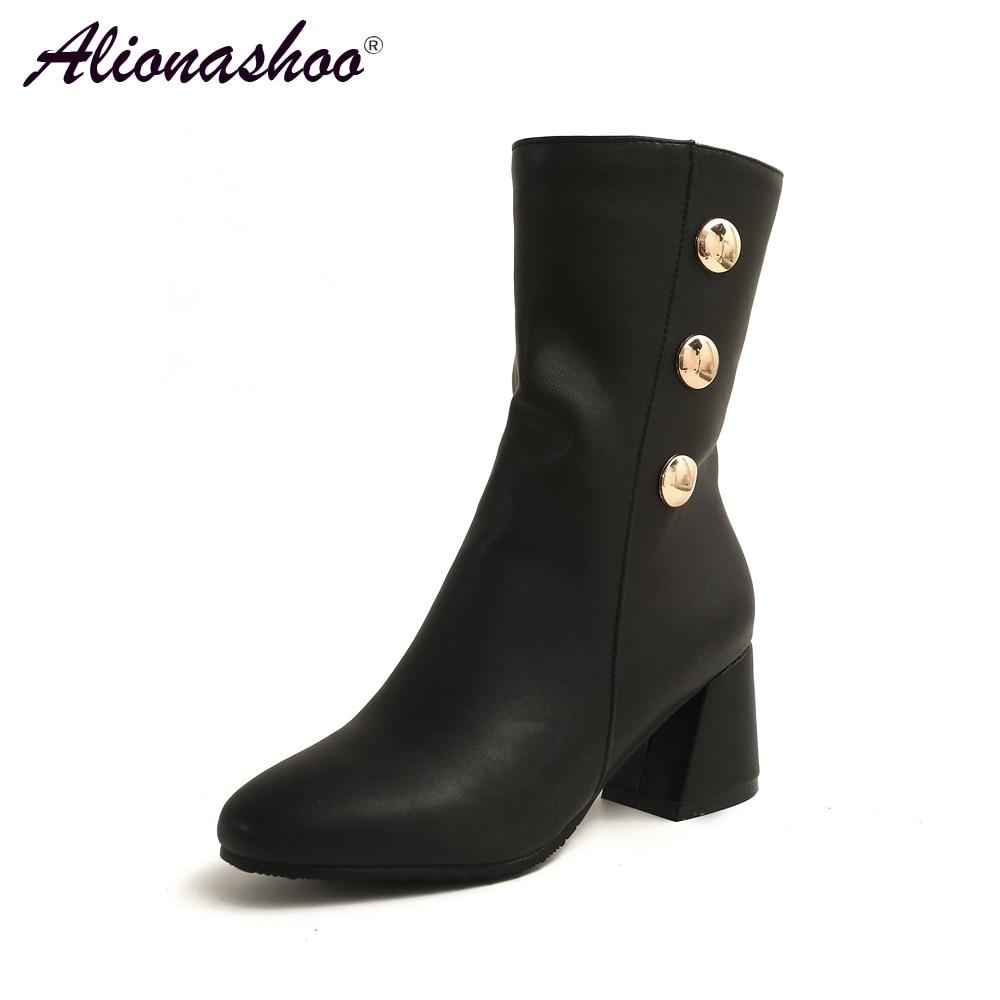 Alionashoo grande taille 34-46 femmes bottes talon épais plate-forme chaussures automne hiver bottes pour femmes en cuir Pu bouton bottines