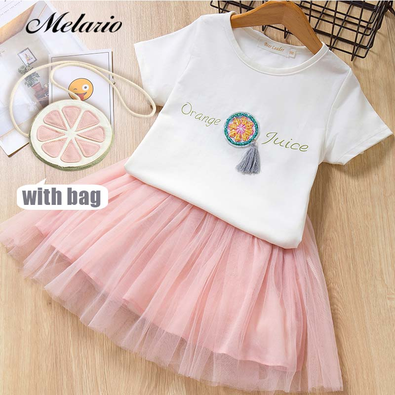 Melario Girls Dresses 2019 Sweet Princess Dress Baby Kids Girls Odzież Wedding Party Dresses Odzież dla dzieci Pink Applique