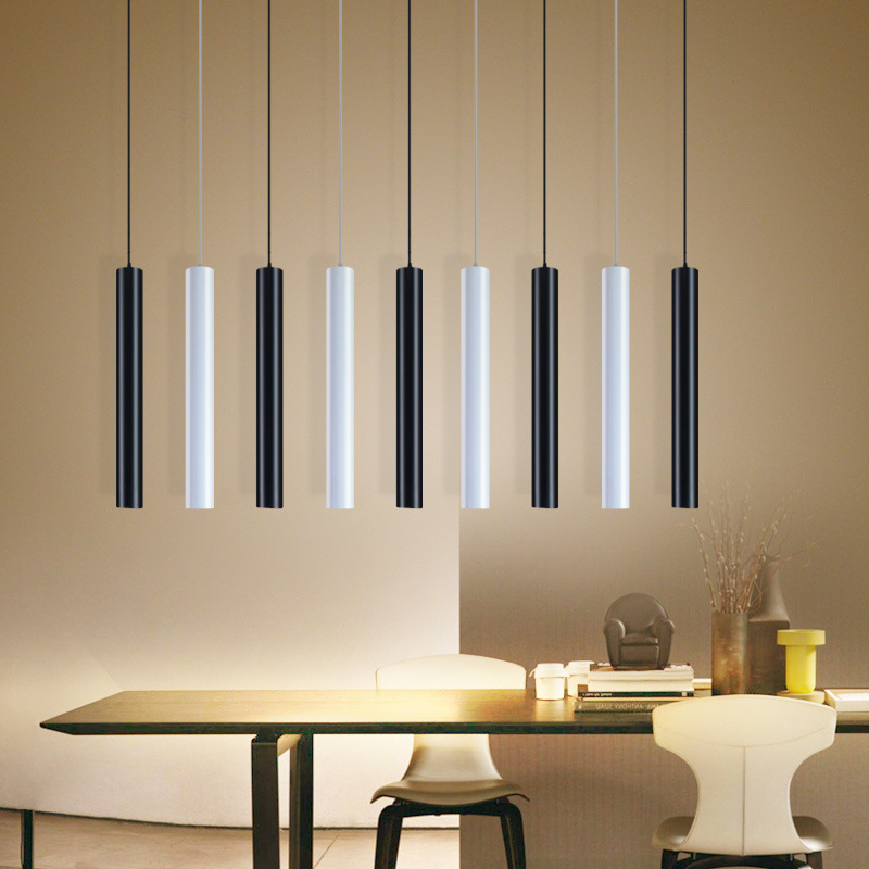 [DBF]LED Modern Pendant Light Long Tube Black Pendant Lamp Island Bar Counte Shop Room Kitchen Light Fixtures Hanglamp Luminaire