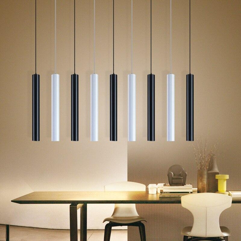 [Dbf] led moderno pingente de luz longo tubo preto lâmpada ilha barra counte loja sala cozinha luminárias hanglamp luminária