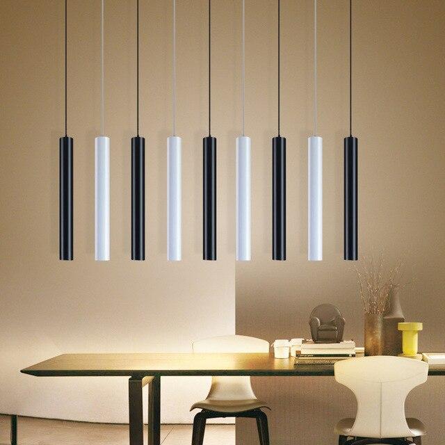 [DBF]LED moderne suspension longue tube noir suspension lampe île barre pays boutique chambre cuisine luminaires lampe à suspension luminaire