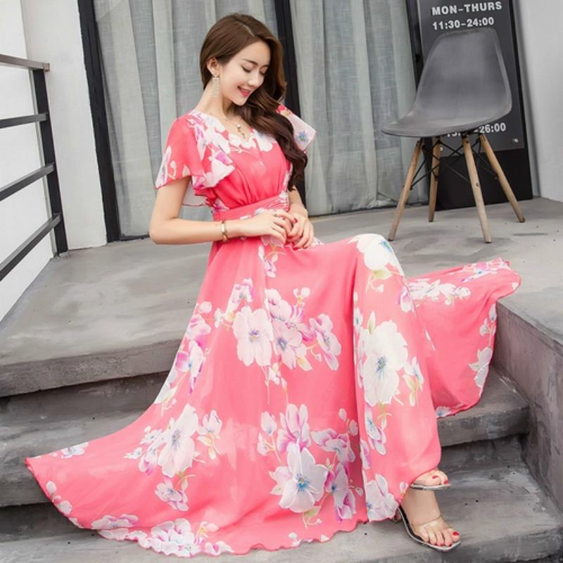 Summer Maxi Dresses Womens 2019 Short Sleeve Floral Print