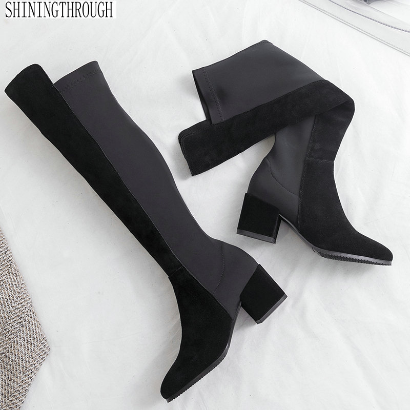 patchwork Women boots high heels over the knee boots ladies dress shoes woman suede leather autumn winter boots large size 43 dijigirls new autumn winter women over the knee boots shoes woman fashion genuine leather patchwork long high boots 34 43