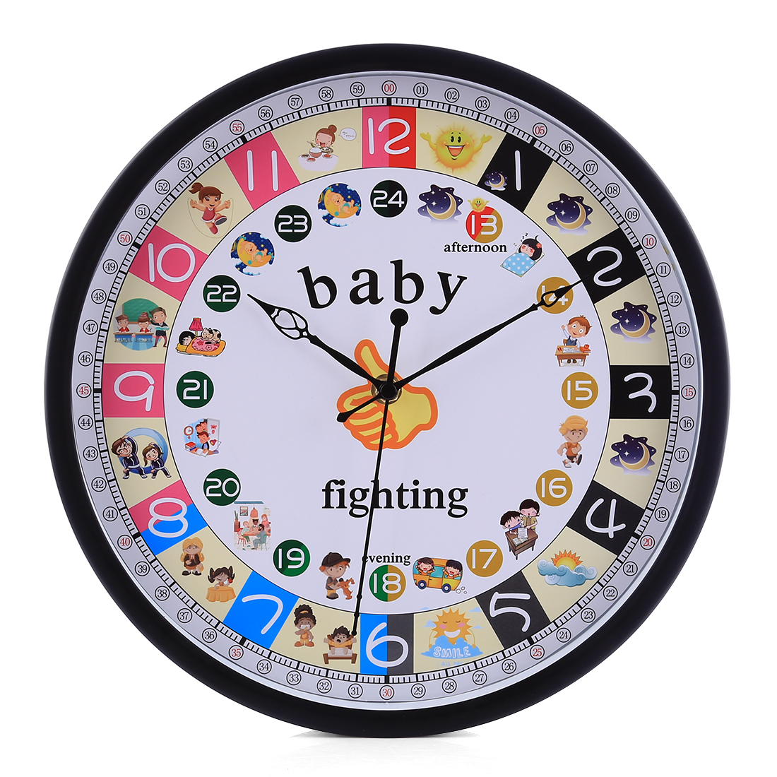 12 Inch Children Cute Cartoon Metal Silent Wall Clock Mute Quartz Kids Wall Watch Clocks For Bedroom Home Decor