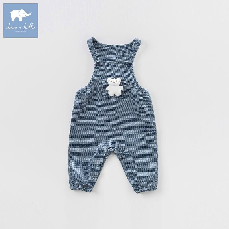 DB7387 dave bella spring unisex baby girls boys fashion overalls children Jumpsuit toddler clothes kids cute