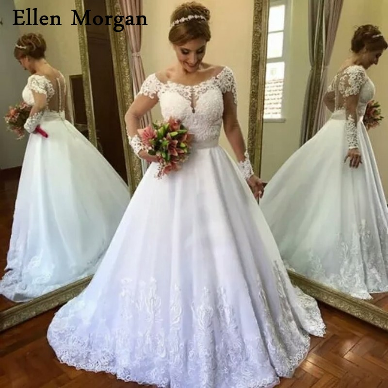 White Long Sleeves Lace Ball Gowns Wedding Dresses Puffy