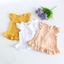 Shirts Blouses Clothing Baby-Girl Cotton for Children Kids Dress Ruffle-Sleeve Summer