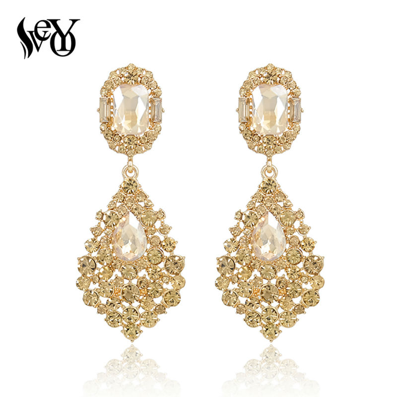 2015 The European And American Fashion Luxury Fashion Bride Wedding Crystal Rhinestone Earrings Long  Earrings Jewelry For Woman