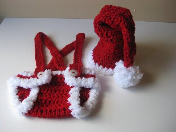 Handgemaakte Haak Pasgeboren Rode Kerstmuts Met Luier Coveroveralls