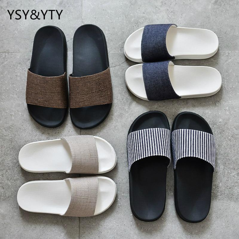 2019 nueva casa par zapatillas mujer verano desgaste algodón y lino slippery simple gruesa moda interior casa zapatillas