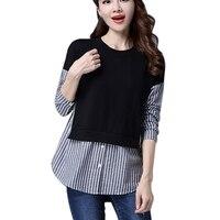 Women Striped Girls Blouse Autumn Winter Blouse Women Patchwork Long Sleeve Fashion Spliced Shirts Blusas Female