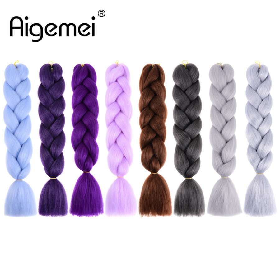 Systematic Aigemei Braiding Hair Extensions Synthetic Kanekalon Ombre Jumbo Braids 24inch 100g/pcs Crochet Twist Braids Afirican Hairstyle Jumbo Braids Hair Braids