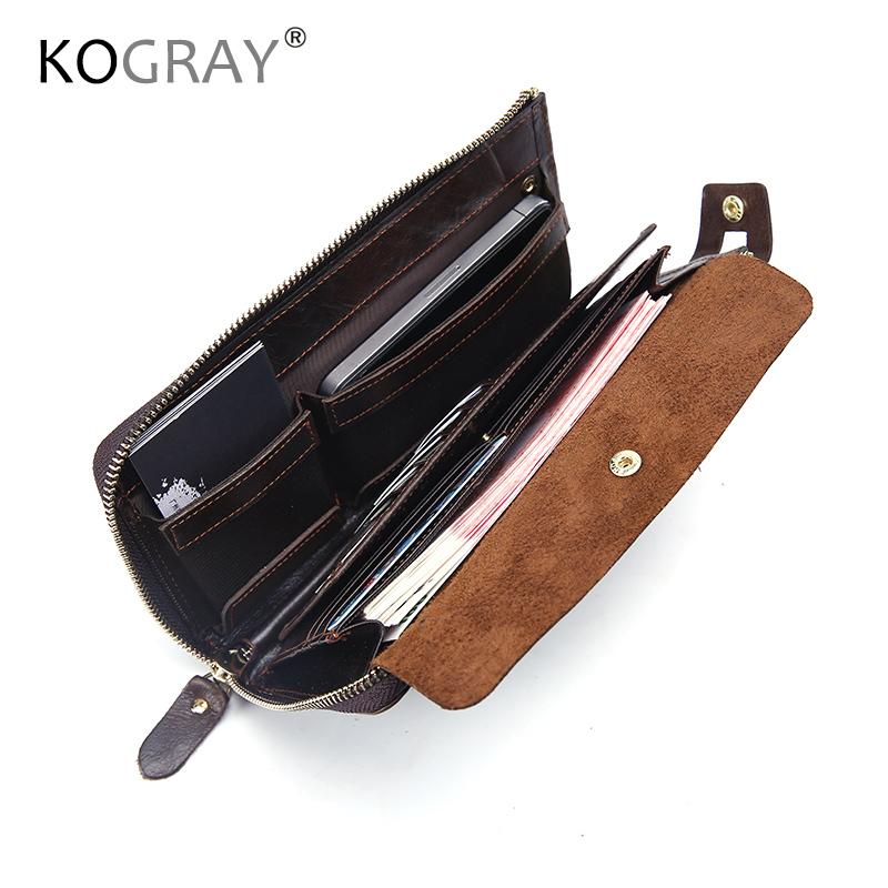 KOGRAY Genuine Leather Wallet Men Clutch Long Wallet Male Passport Card Holder Money Bags Coin Purses Hasp Phone Pocket Clutch casual pu leather men hasp long wallet luxury money coin pochette slim portf purse card holder pocket clutch male pouch bag