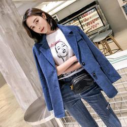 2018 осень Для женщин вельвет пиджак Для женщин Свободные длинным рукавом Дамы Винтаж пиджаки feminino ПР Формальные Работа Костюмы для