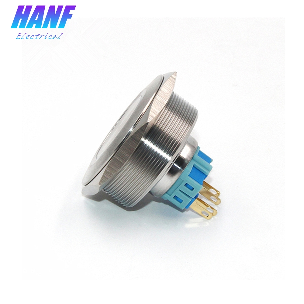 1pcs 4Pin 1NO1NC 40mm Stainless Steel Push Button Switch Self-latching Flat Head Waterproof 5A/250V