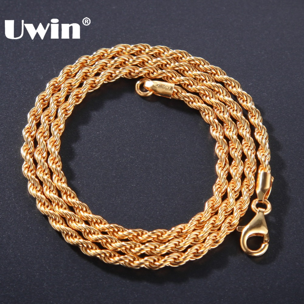 Uwin High Quality Hiphop 3mm Rope Chains Necklace 100% Genuine 925 Sterling Silver Fashion Jewelry Drop Shipping For Women Men
