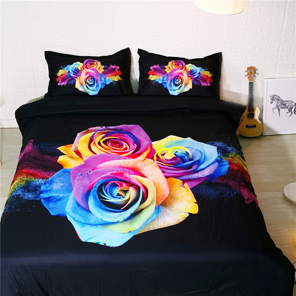 3D Flower Bed and Bedding Set Rose Microfiber Bedding fadeless Comforter Duvet Cover Set US Queen Bedclothes for Adults Bed