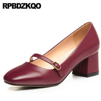 Retro Medium Heels Wine Red Chunky Brand Square Toe Discount Mary Janes Women Shoes Size 4 34 Elegant Genuine Leather Vintage