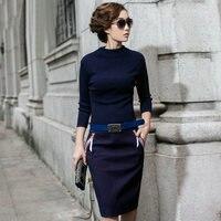 Женские вязаные платья Осень весна 2016 г. круглым вырезом линии пояса тонкий платье три четверти темно синие платье