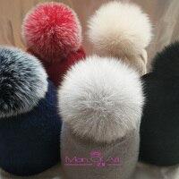 [MAN OF ART] Kapelusz jesień i zima koreańskiej wersji cienkie wełniane królika kapelusz futra lisa piłka czapka casual dzikie proste nowe dzianiny kapelusz tide