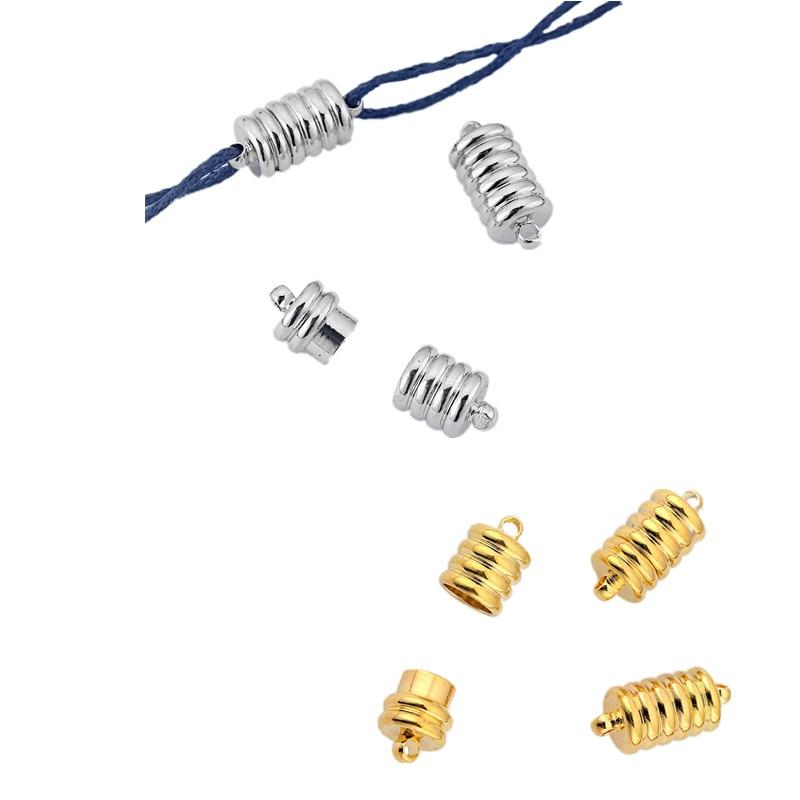 5Sets Spiral Barrel Magnetic Clasp Connecter for 2mm Round Leather Bracelet
