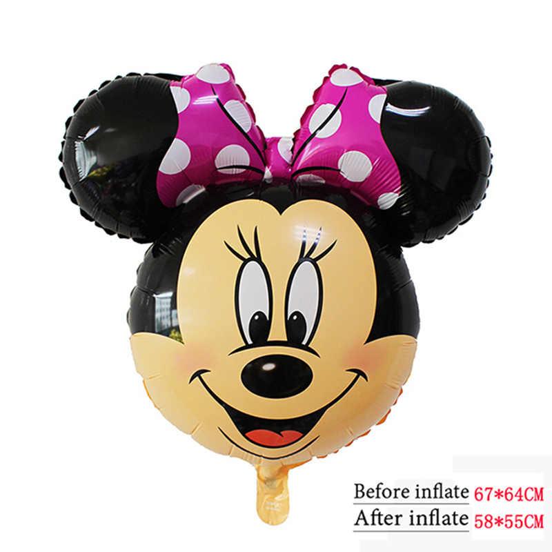112Cm Giant Mickey Minnie Ballonnen Grote Hoofd Mickey Minnie Ballon Stok Voor Verjaardagsfeestje Decoraties Kids Feestartikelen