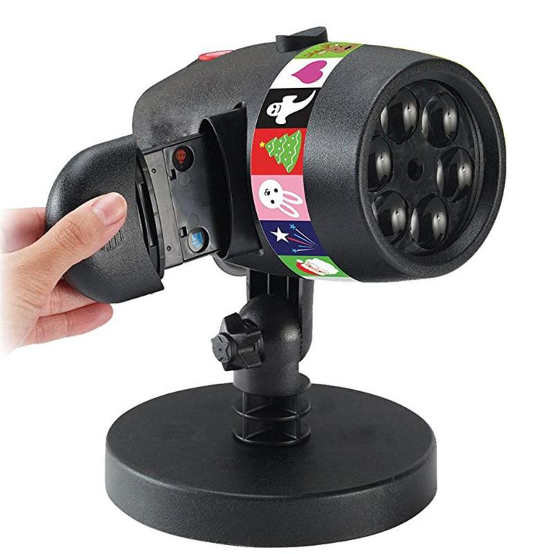 12 Slides Projection Light Christmas Laser Projector Light USB Charging 15LM Stage Light Halloween Holiday Decoration Lamp rainbow projector night light wave projection colorful lamp with speaker holiday light for christmas decoration