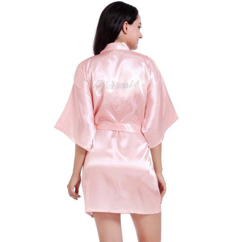 EFINNY Sexy Women Satin Silk Bathrobe Bridesmaid Bride Robe Short Wedding  Kimono Robes Sleepwear Nightgown Dress Pajamas-in Robes from Women s  Clothing ... e37ab04dd