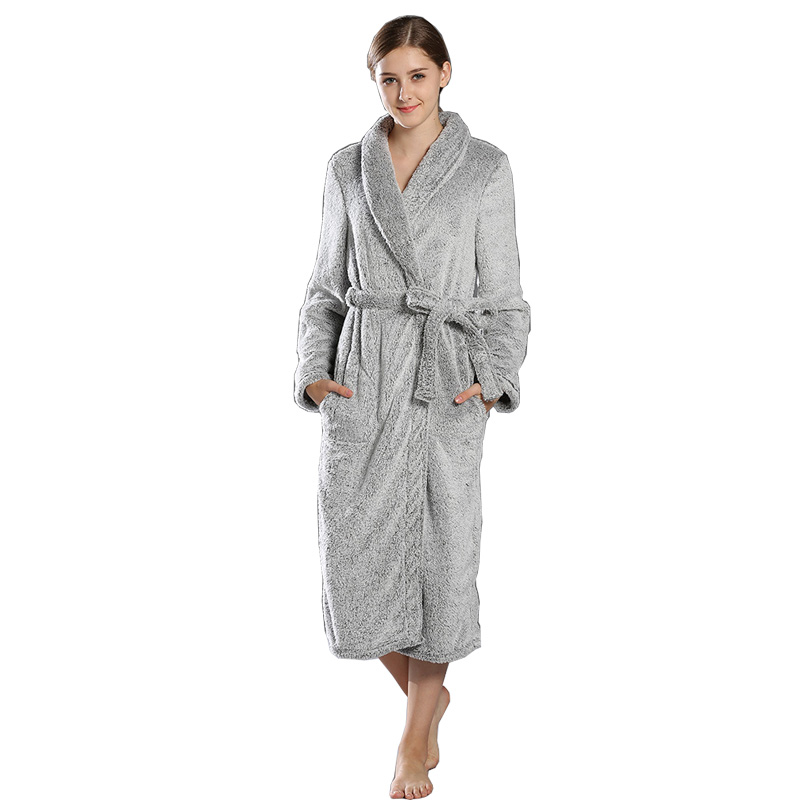 Winter Lounge Robes Grey Thick Warm Dressing Gown Plush Sculptured ...