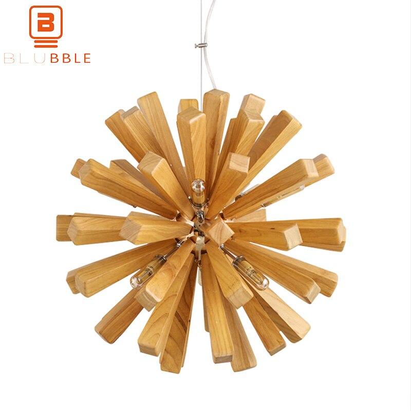 BLUBBLE Europe du nord lampes suspendues pissenlit diamètre 52 cm ampoule en bois G9 lampe pendante feux d'artifice Restaurant café Hanglamp