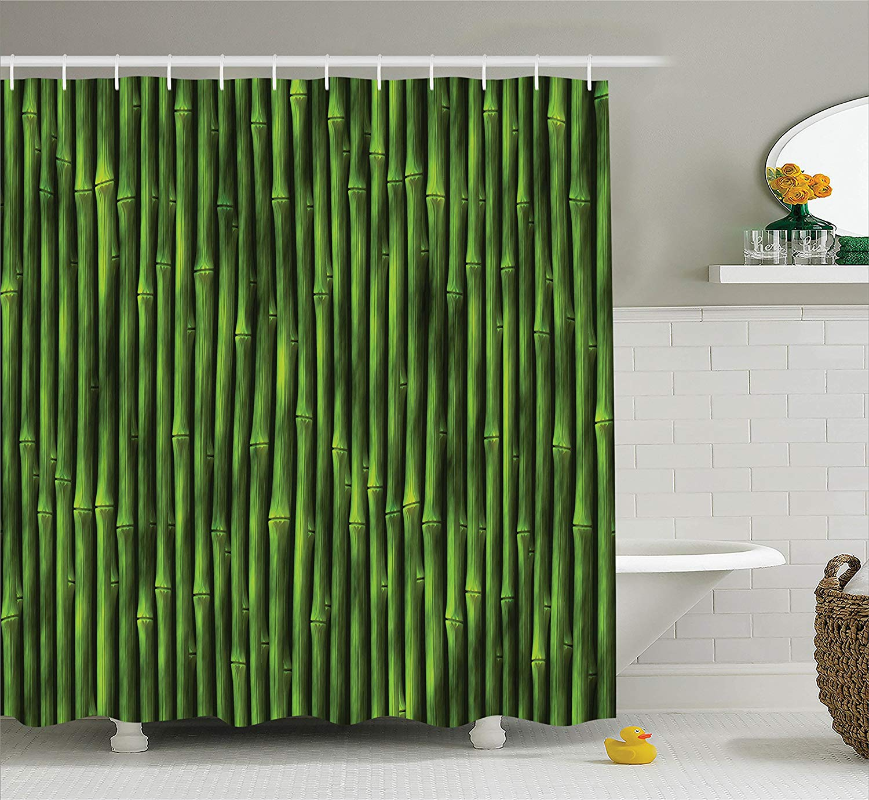 Shower Curtain Bamboo Stems Pattern