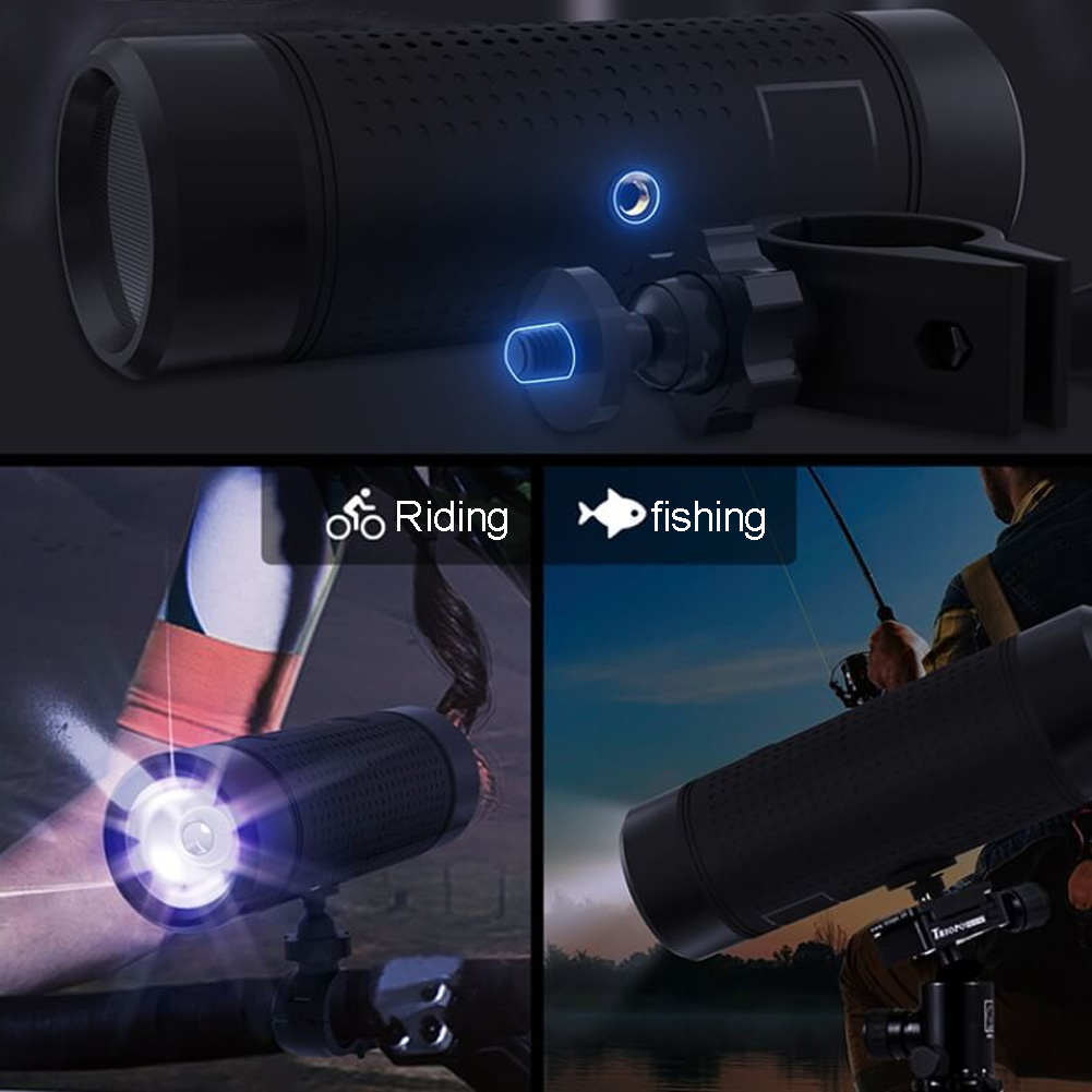 LED Flashlight Waterproof Mobile Power Stereo Music Surround Audio Player Sound System Outdoor Bluetooth Speaker With USB Cable