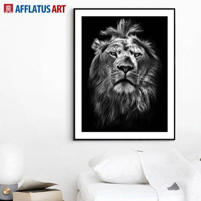 Black White Lion Face Hd Photo Wall Art Canvas Painting Nordic Posters And Prints Animal