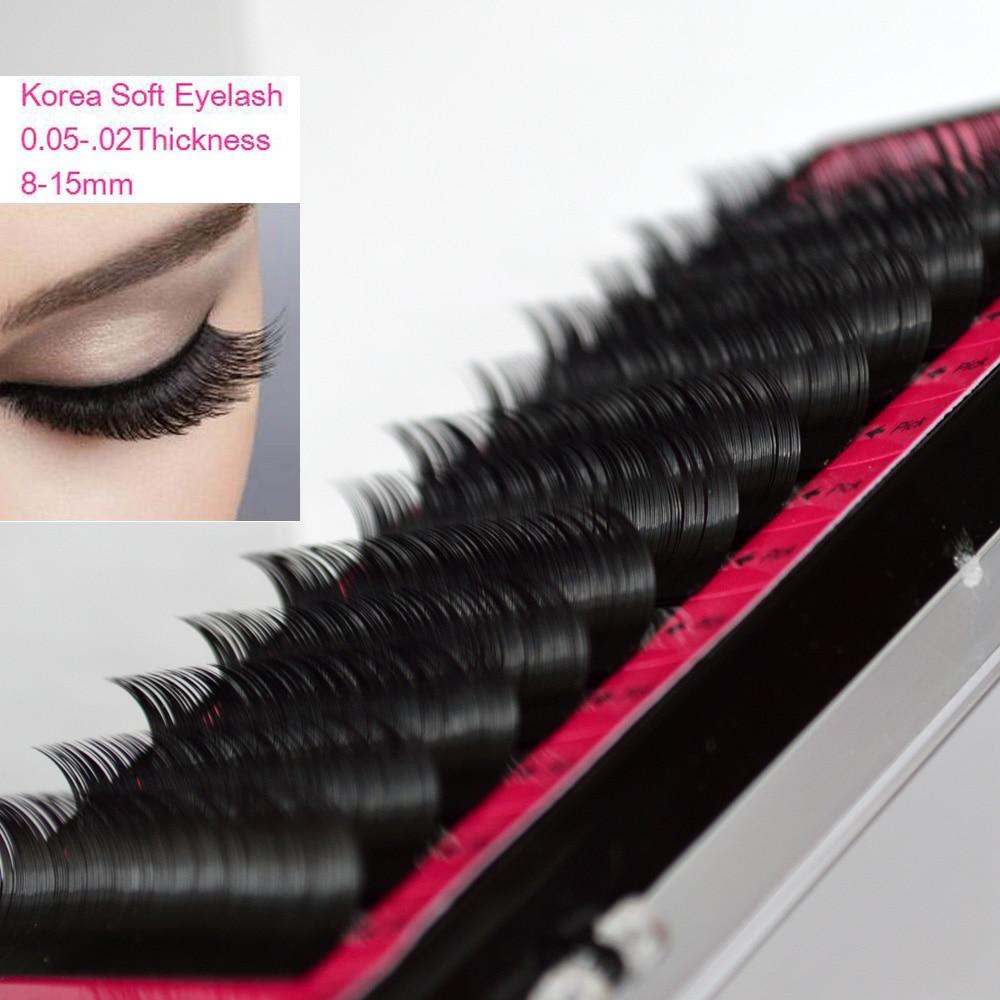 Øjenvipper 1Tryk alle størrelsesvisker, Silke Sort Individuelle Falske Falske Mink 3D Øje Lash Extensions Makeup værktøjer