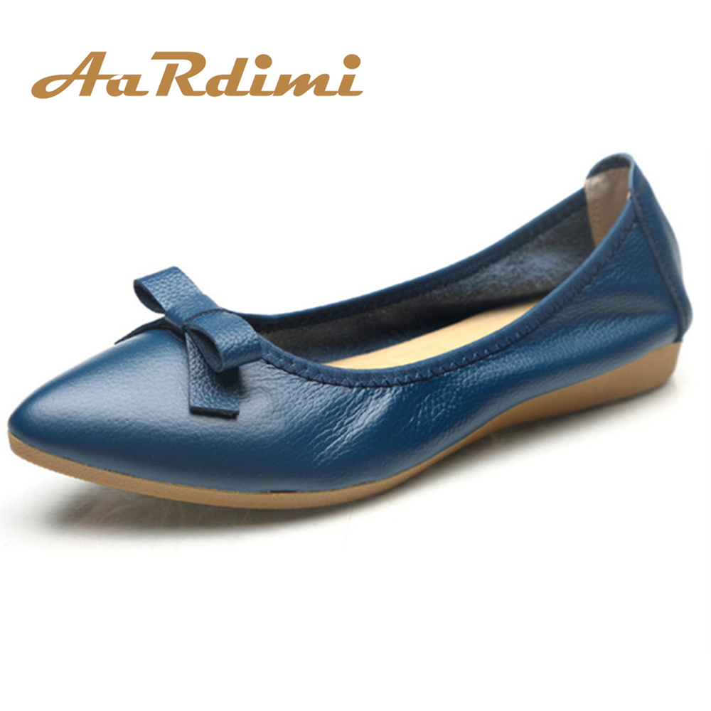 AARDIMI Pointed Toe Women Shoes Genuine Leather Spring Ballet Flats Shoes Woman Butterfly-knot Ballerines Flats Mother Shoes drfargo spring summer ladies shoes ballet flats women flat shoes woman ballerinas pointed toe sapato womens waved edge loafer