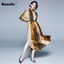 Banulin Newest Fashion 2019 Designer Runway Maxi Dress Womens Lantern Sleeve Charming Color Block Pleated Long Beach
