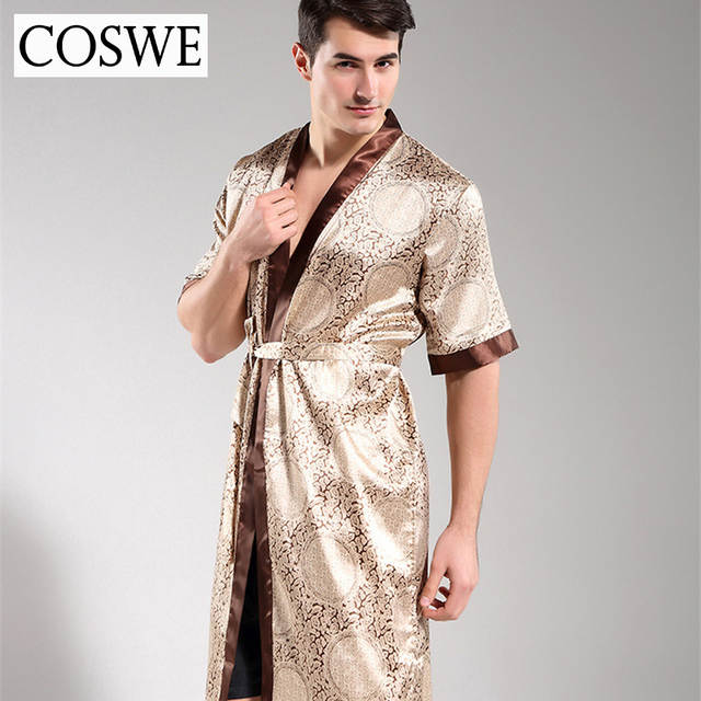 Online Shop COSWE New Silk Robes For Men Sexy Robe Mens Satin Bathrobe Male  Dressing Gown Mens Night Gowns Pijamas Masculinos Nightgowns  82f3d9f09