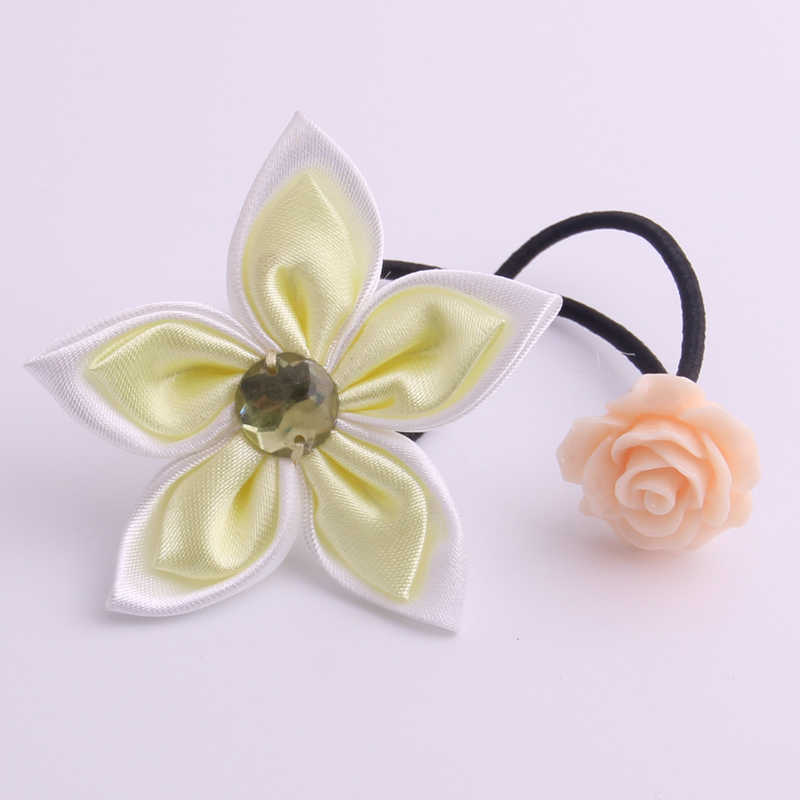 Flower Ornament Hair Gums Rose Flower Acrylic Charms Elastic Hair Bands Hand Making Fabrics Hair Ties Pony Tail Hair Loops