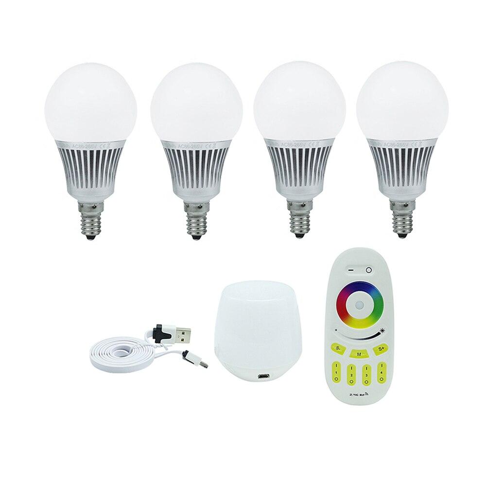 4 pack 5W Mi Light LED Bulb Dimmable E14 Spotlight Smart led lamp +  4 zone 2.4G RF LED Remote Control + wifi box controller mi light 2 4g mr16 4w led bulb rgbww rf professional smart led spotlight wireless wifi controller for led bulb ac dc12v