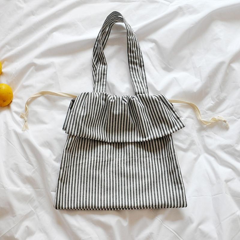 Amorvivi 2019 New Drawstring Literary striped cotton and linen bag Shoulder bag Simple drawstring bag
